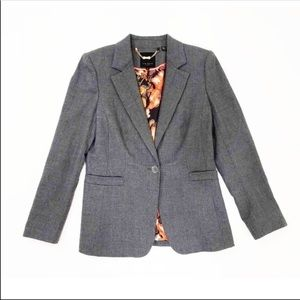 Ted Baker   Grey Floral Lined One Button Blazer 1